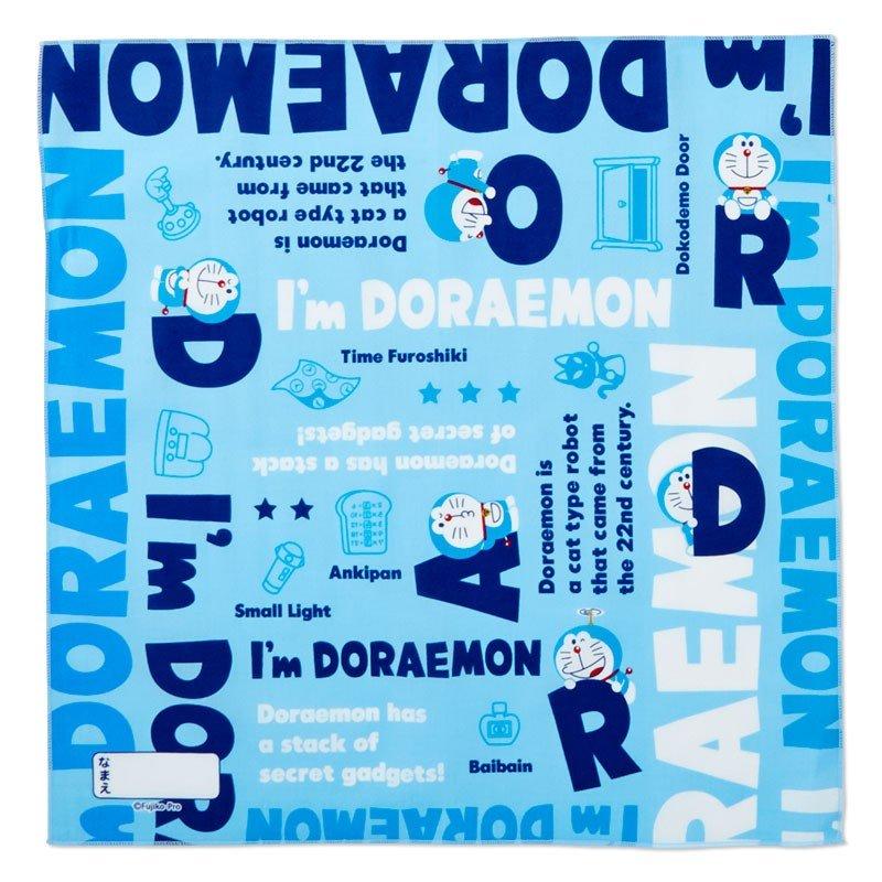 〔小禮堂〕哆啦A夢 日製棉質便當包巾組《3入.深藍.文字》43x43cm.手帕.餐巾.桌巾 2