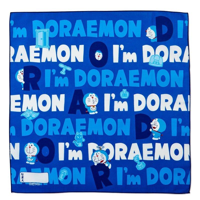 〔小禮堂〕哆啦A夢 日製棉質便當包巾組《3入.深藍.文字》43x43cm.手帕.餐巾.桌巾 3