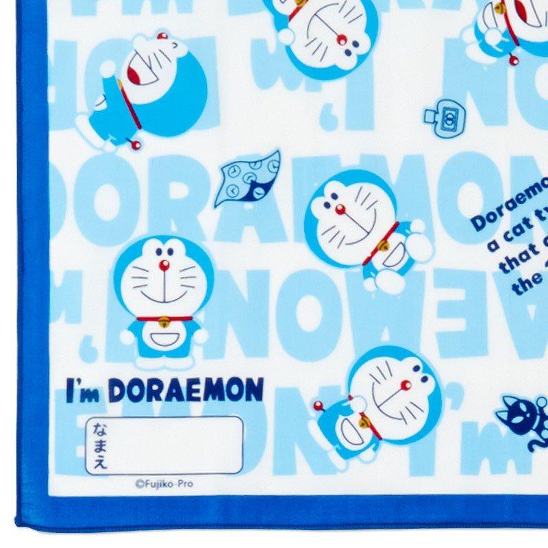 〔小禮堂〕哆啦A夢 日製棉質便當包巾組《3入.深藍.文字》43x43cm.手帕.餐巾.桌巾 4