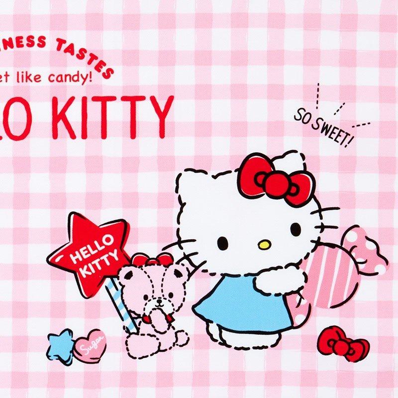 〔小禮堂〕Hello Kitty 日製棉質餐巾手帕《粉白.格紋》25x35cm.桌巾.便當包巾 1