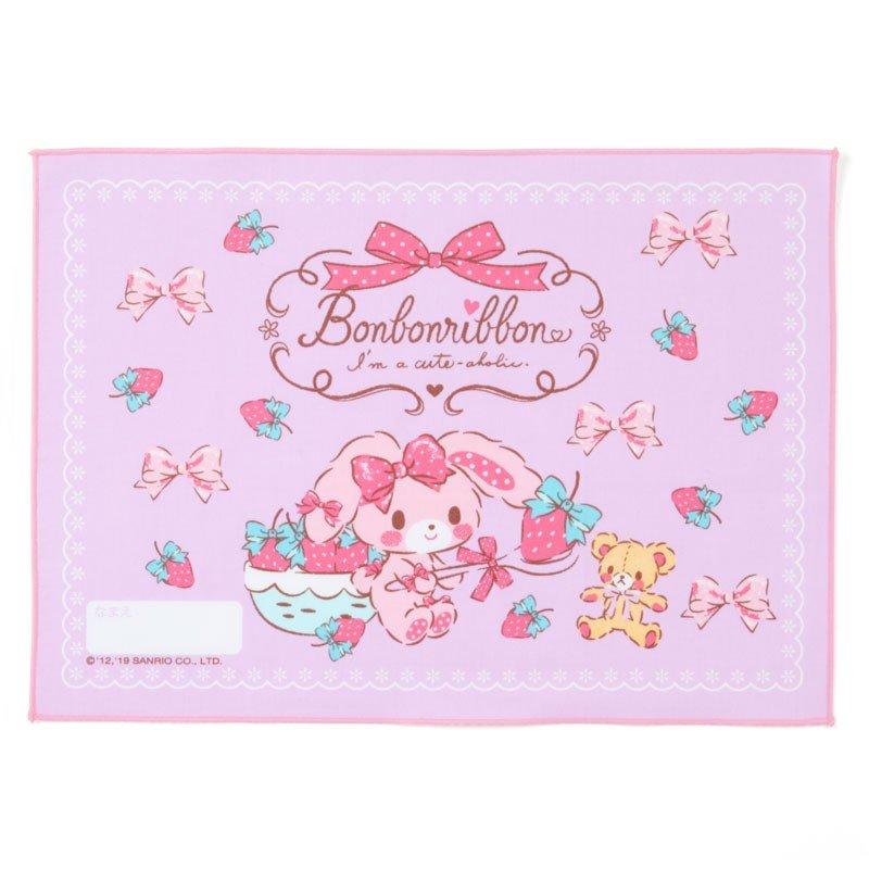 〔小禮堂〕蹦蹦兔 日製棉質餐巾手帕《紫.拿草莓》25x35cm.桌巾.便當包巾 0