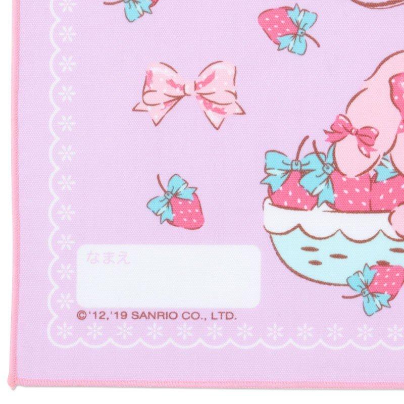 〔小禮堂〕蹦蹦兔 日製棉質餐巾手帕《紫.拿草莓》25x35cm.桌巾.便當包巾 2