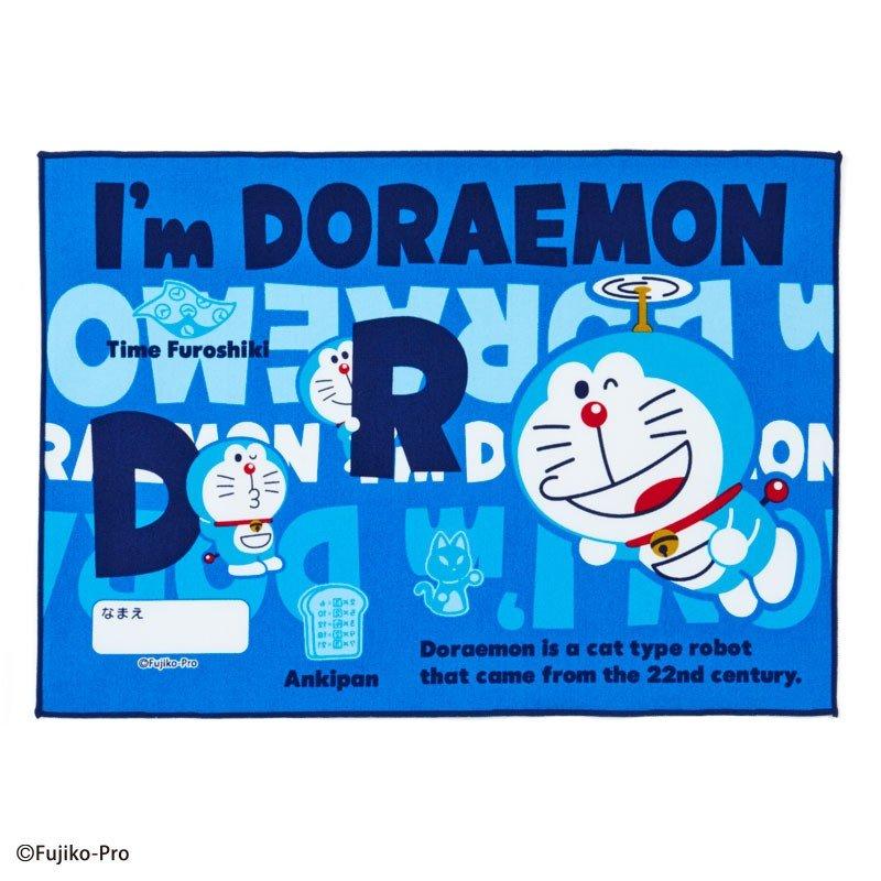 〔小禮堂〕哆啦A夢 日製棉質餐巾手帕《深藍.文字》25x35cm.桌巾.便當包巾 0