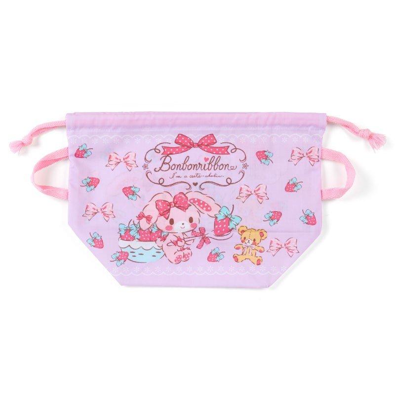 〔小禮堂〕蹦蹦兔 日製棉質手提束口便當袋《紫.拿草莓》縮口袋.收納袋 0