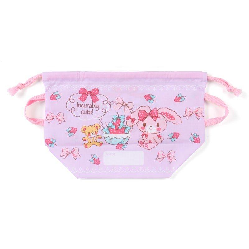 〔小禮堂〕蹦蹦兔 日製棉質手提束口便當袋《紫.拿草莓》縮口袋.收納袋 1