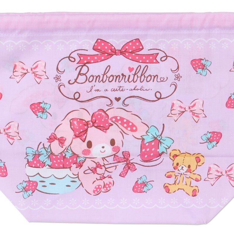 〔小禮堂〕蹦蹦兔 日製棉質手提束口便當袋《紫.拿草莓》縮口袋.收納袋 2