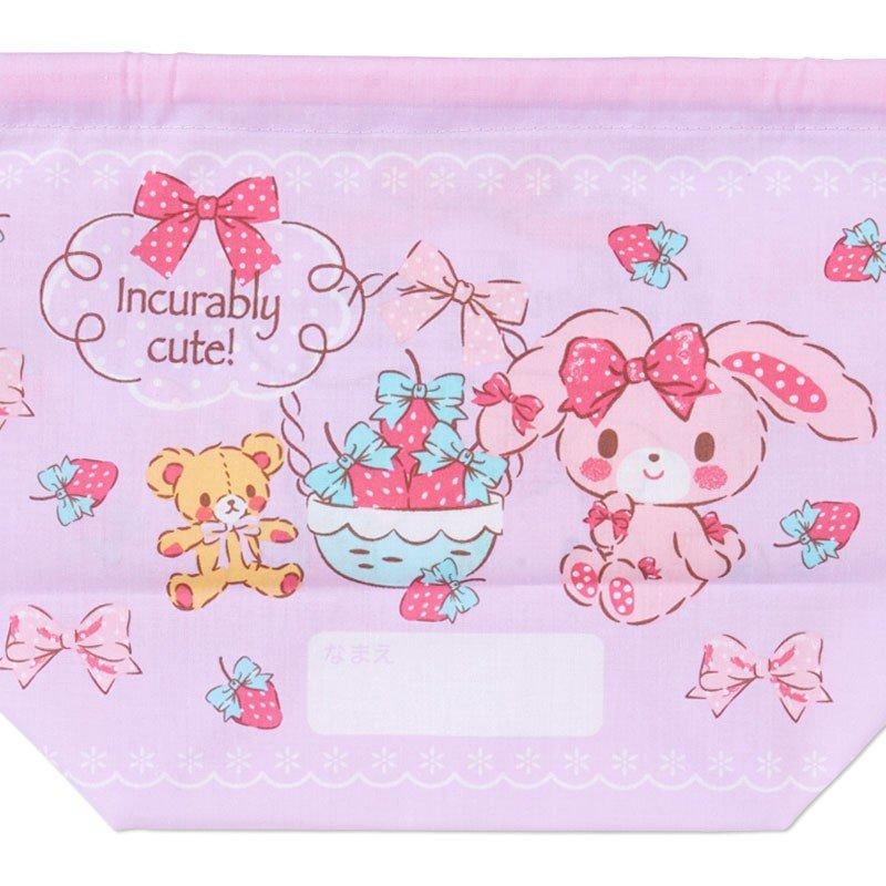 〔小禮堂〕蹦蹦兔 日製棉質手提束口便當袋《紫.拿草莓》縮口袋.收納袋 3