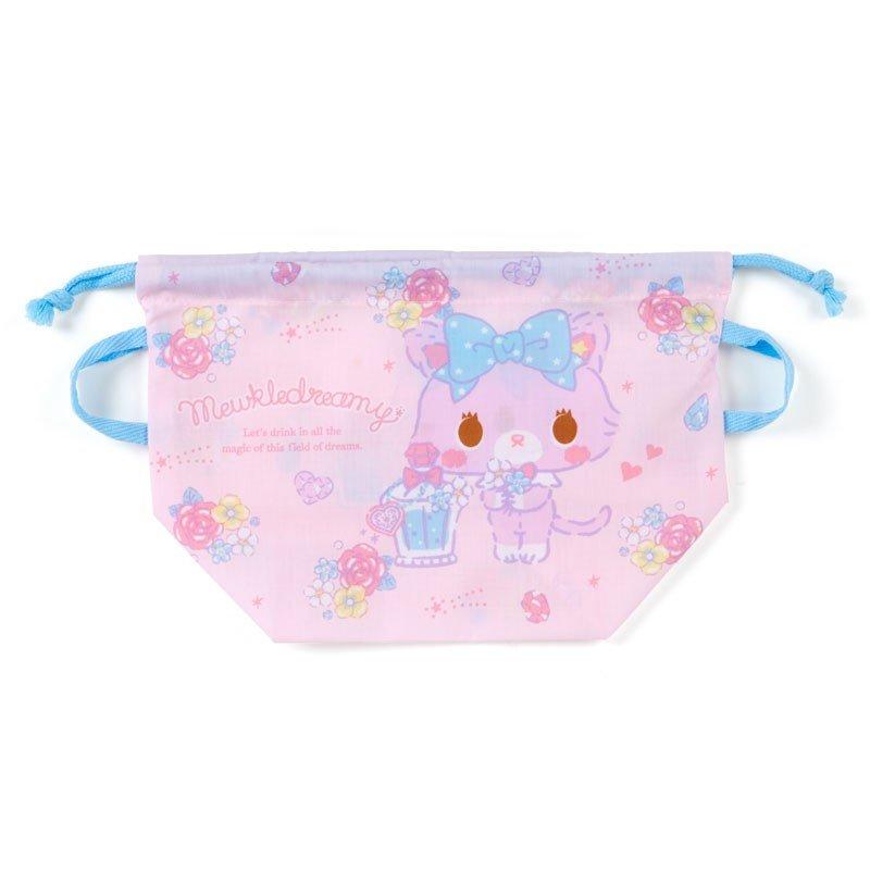 〔小禮堂〕甜夢貓 日製棉質手提束口便當袋《粉藍.香水瓶》縮口袋.收納袋 0