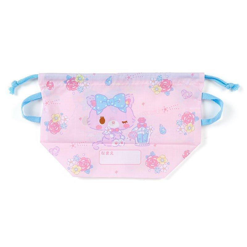 〔小禮堂〕甜夢貓 日製棉質手提束口便當袋《粉藍.香水瓶》縮口袋.收納袋 1