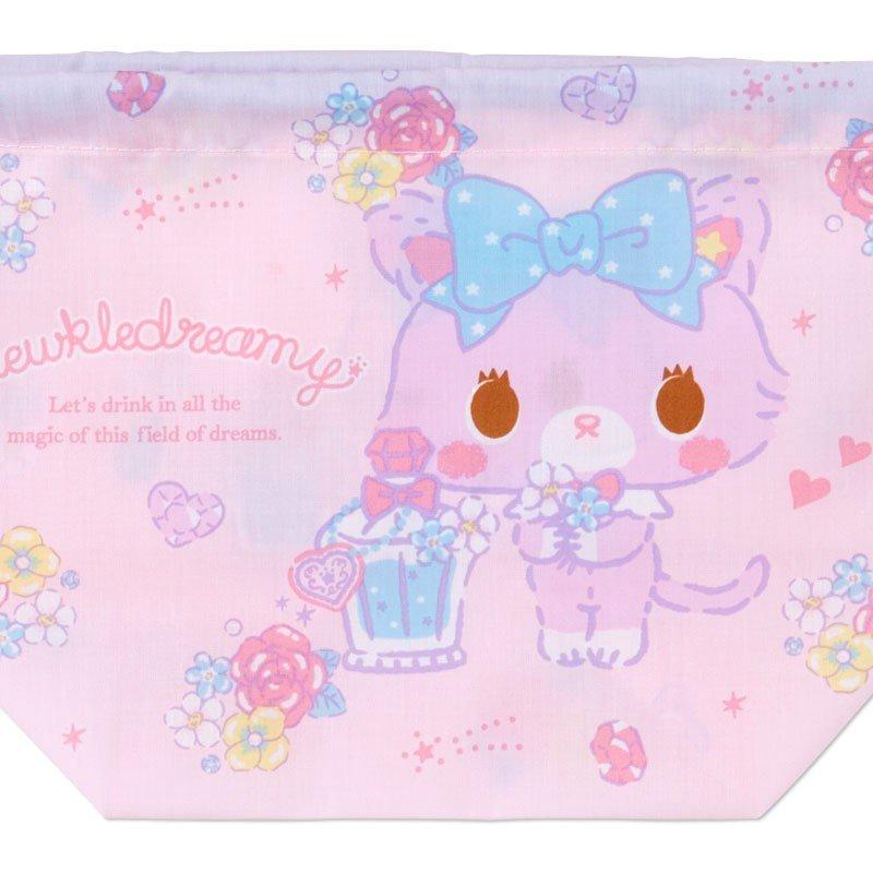 〔小禮堂〕甜夢貓 日製棉質手提束口便當袋《粉藍.香水瓶》縮口袋.收納袋 2