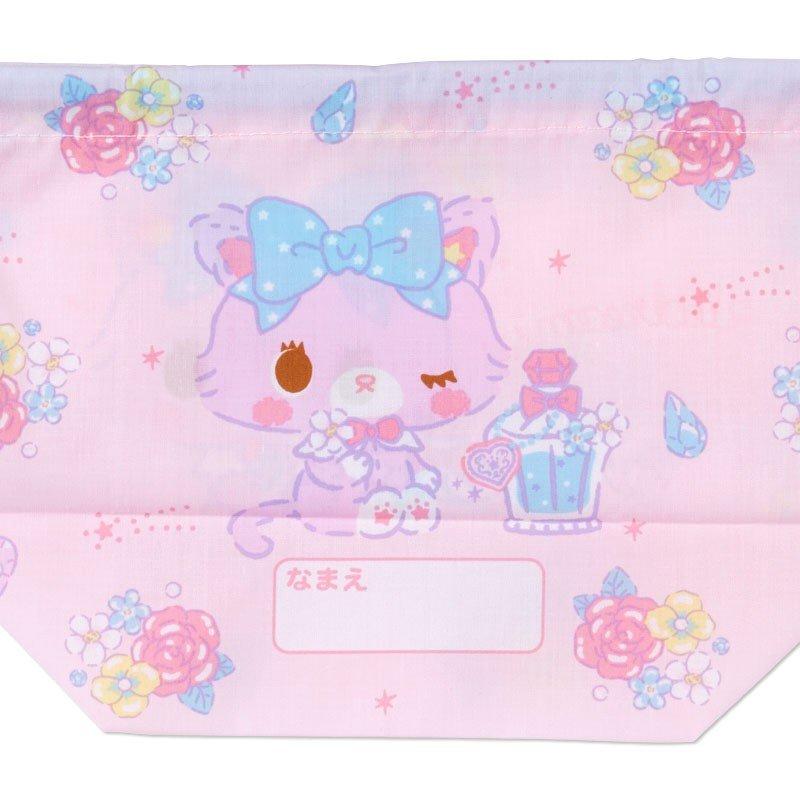 〔小禮堂〕甜夢貓 日製棉質手提束口便當袋《粉藍.香水瓶》縮口袋.收納袋 3