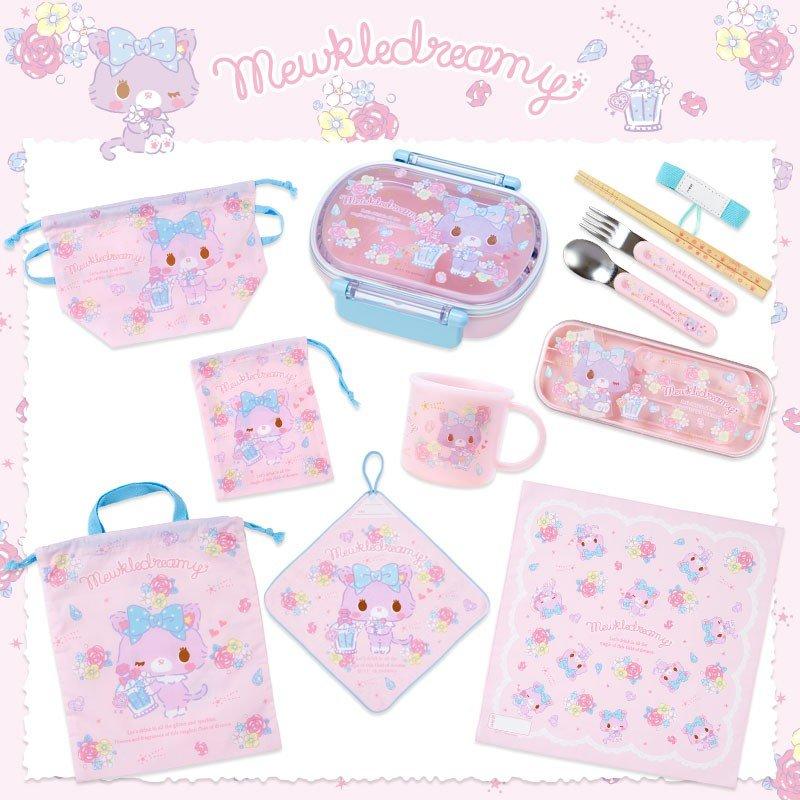 〔小禮堂〕甜夢貓 日製棉質手提束口便當袋《粉藍.香水瓶》縮口袋.收納袋 4
