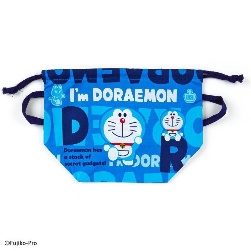 〔小禮堂〕哆啦A夢 日製棉質手提束口便當袋《深藍.文字》縮口袋.收納袋 0