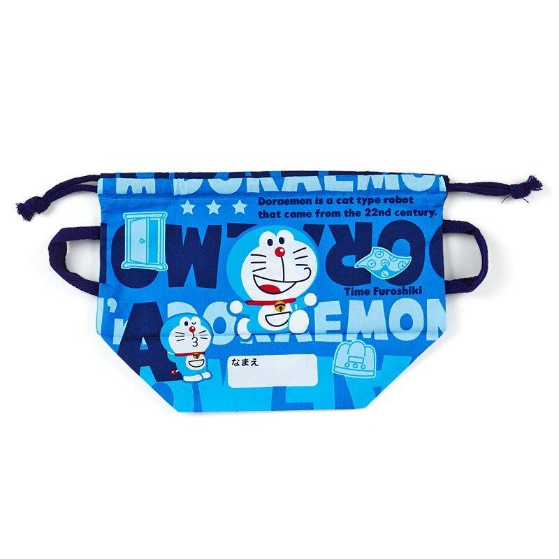 〔小禮堂〕哆啦A夢 日製棉質手提束口便當袋《深藍.文字》縮口袋.收納袋 1