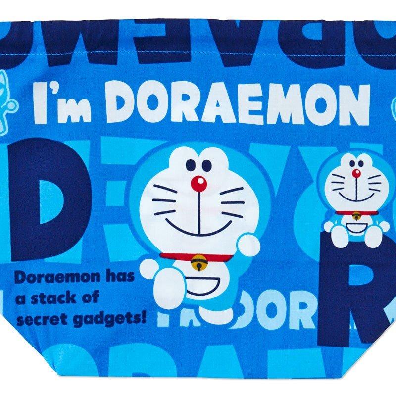 〔小禮堂〕哆啦A夢 日製棉質手提束口便當袋《深藍.文字》縮口袋.收納袋 2