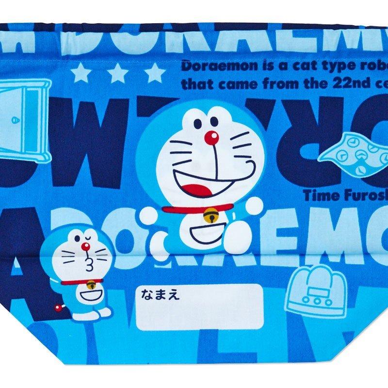 〔小禮堂〕哆啦A夢 日製棉質手提束口便當袋《深藍.文字》縮口袋.收納袋 3
