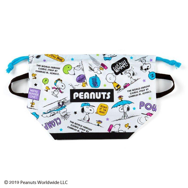 〔小禮堂〕史努比 日製棉質手提束口便當袋《白綠紫.對話框》縮口袋.收納袋 0
