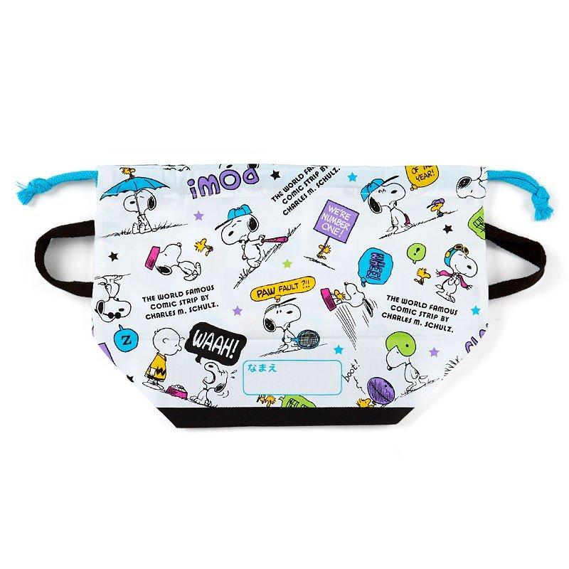 〔小禮堂〕史努比 日製棉質手提束口便當袋《白綠紫.對話框》縮口袋.收納袋 1