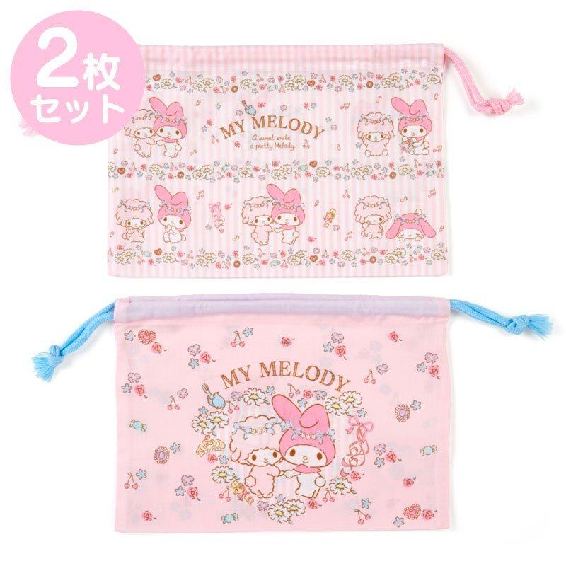 〔小禮堂〕美樂蒂 日製棉質束口便當袋組《2入.粉.花圈》縮口袋.收納袋 0