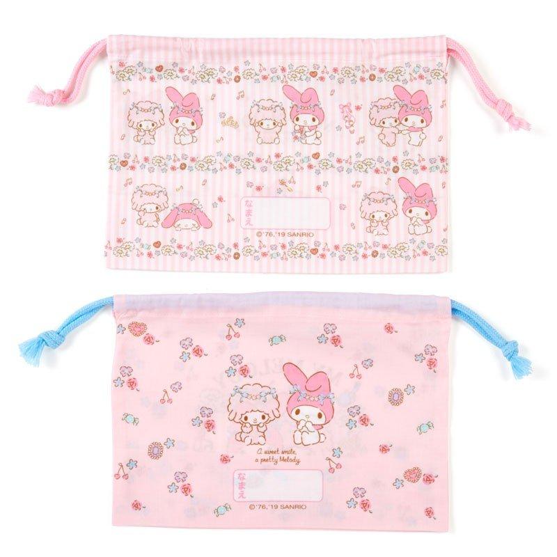 〔小禮堂〕美樂蒂 日製棉質束口便當袋組《2入.粉.花圈》縮口袋.收納袋 1