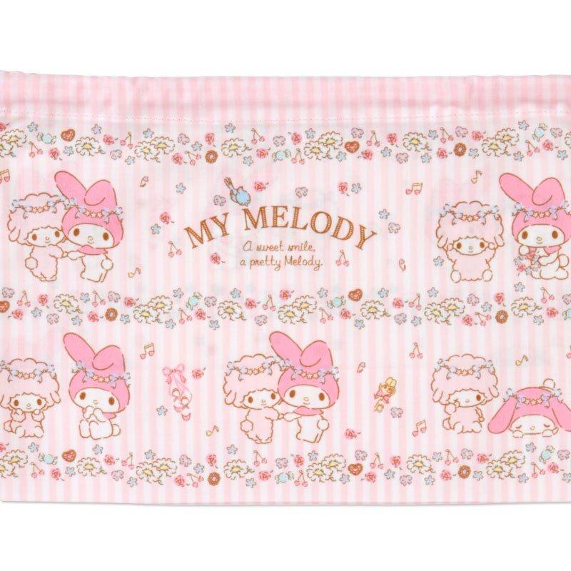 〔小禮堂〕美樂蒂 日製棉質束口便當袋組《2入.粉.花圈》縮口袋.收納袋 2