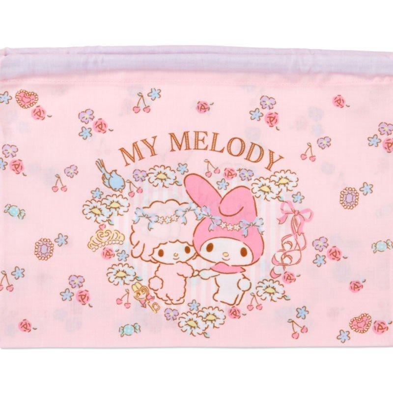 〔小禮堂〕美樂蒂 日製棉質束口便當袋組《2入.粉.花圈》縮口袋.收納袋 3