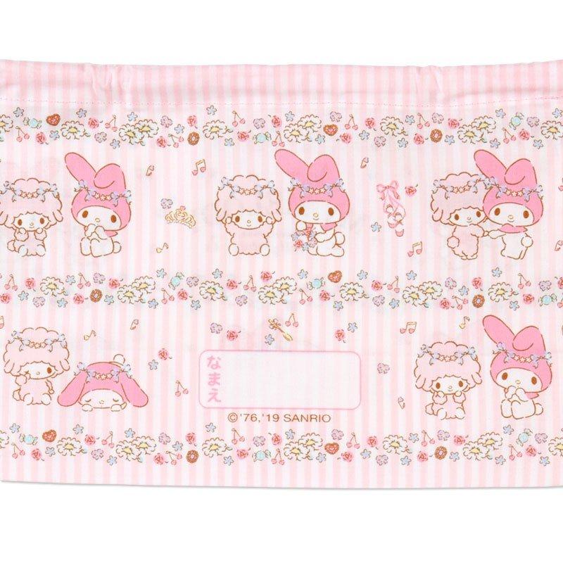 〔小禮堂〕美樂蒂 日製棉質束口便當袋組《2入.粉.花圈》縮口袋.收納袋 4