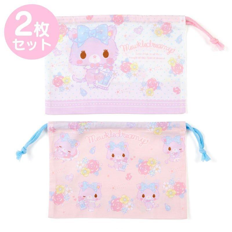 〔小禮堂〕甜夢貓 日製棉質束口便當袋組《2入.紫白.香水瓶》縮口袋.收納袋 0