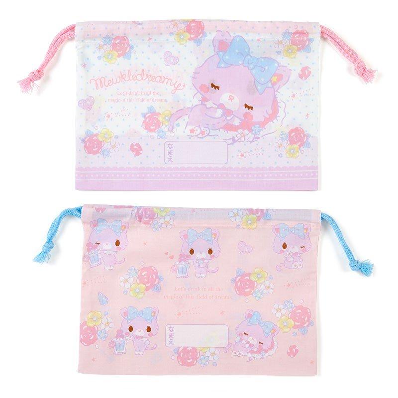 〔小禮堂〕甜夢貓 日製棉質束口便當袋組《2入.紫白.香水瓶》縮口袋.收納袋 1