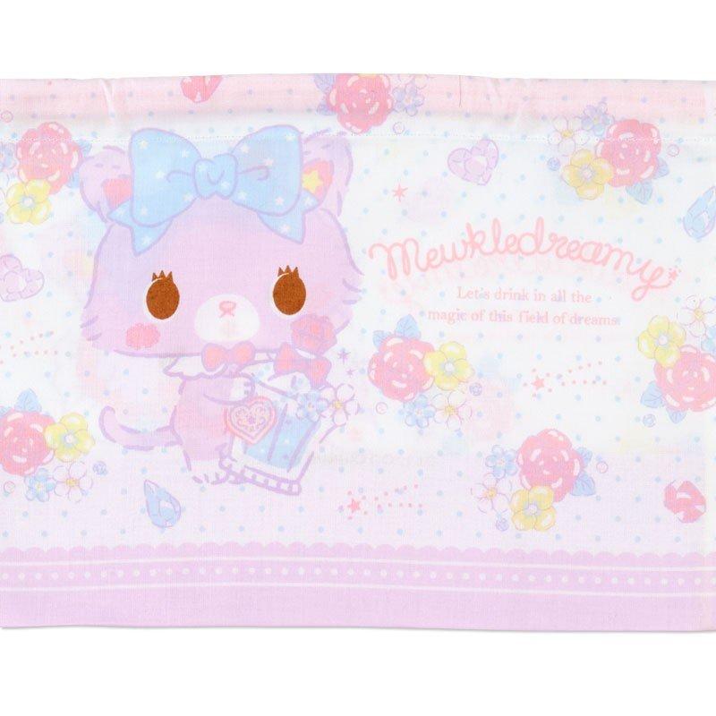 〔小禮堂〕甜夢貓 日製棉質束口便當袋組《2入.紫白.香水瓶》縮口袋.收納袋 2