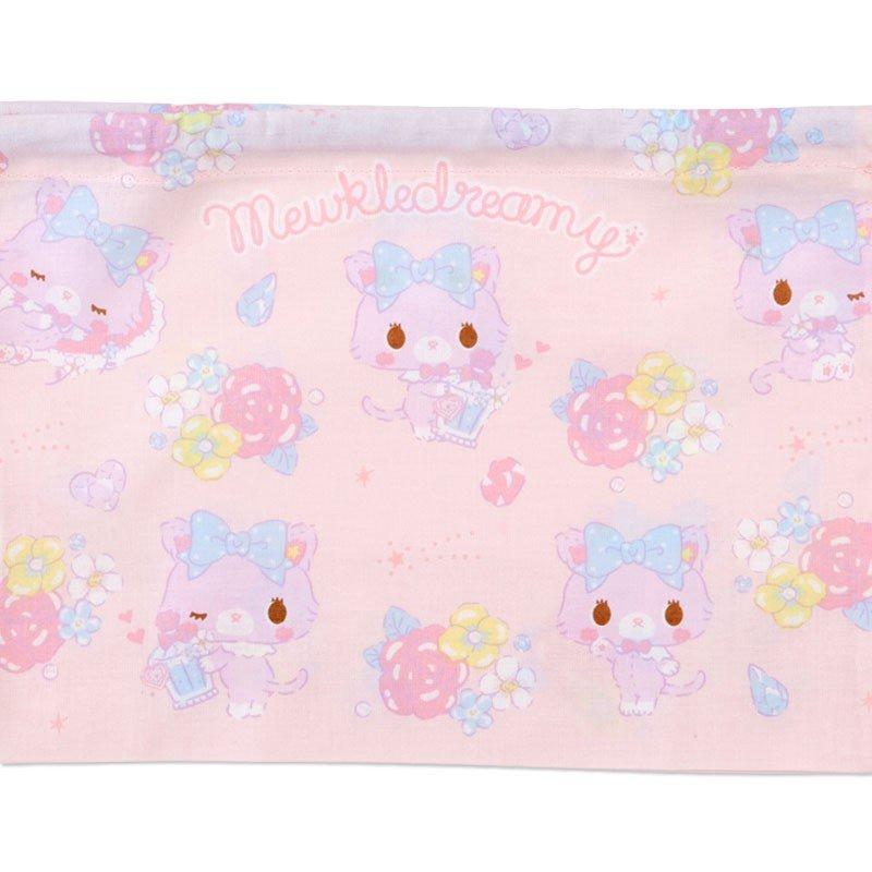 〔小禮堂〕甜夢貓 日製棉質束口便當袋組《2入.紫白.香水瓶》縮口袋.收納袋 3