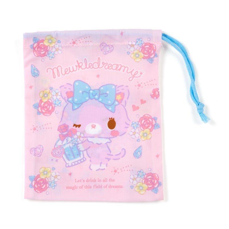 〔小禮堂〕甜夢貓 日製棉質束口袋《粉紫.香水瓶》16x20cm.縮口袋.牙刷杯袋 0
