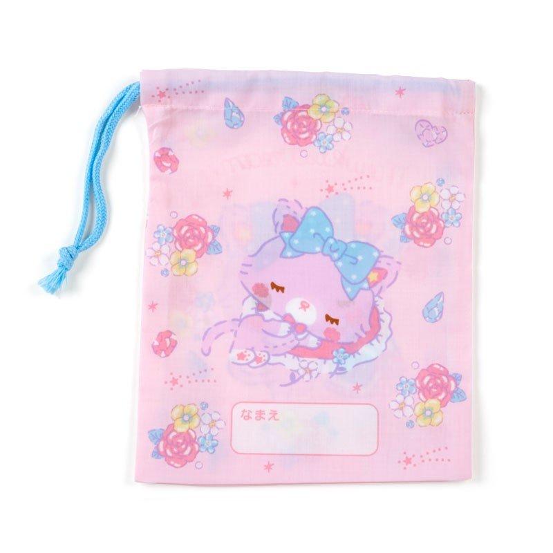 〔小禮堂〕甜夢貓 日製棉質束口袋《粉紫.香水瓶》16x20cm.縮口袋.牙刷杯袋 1