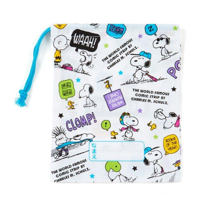 〔小禮堂〕史努比 日製棉質束口袋《白綠紫.對話框》16x20cm.縮口袋.牙刷杯袋 1