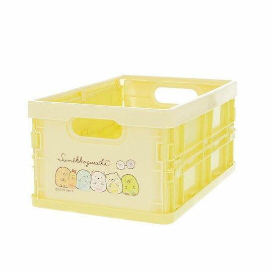〔小禮堂〕角落生物 塑膠折疊無蓋收納箱《S.黃.抱玩偶》可堆疊.收納盒.收納籃