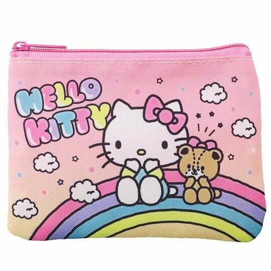 〔小禮堂〕Hello Kitty 方形尼龍面紙零錢包《粉黃.彩虹》收納包.化妝包.面紙包 0
