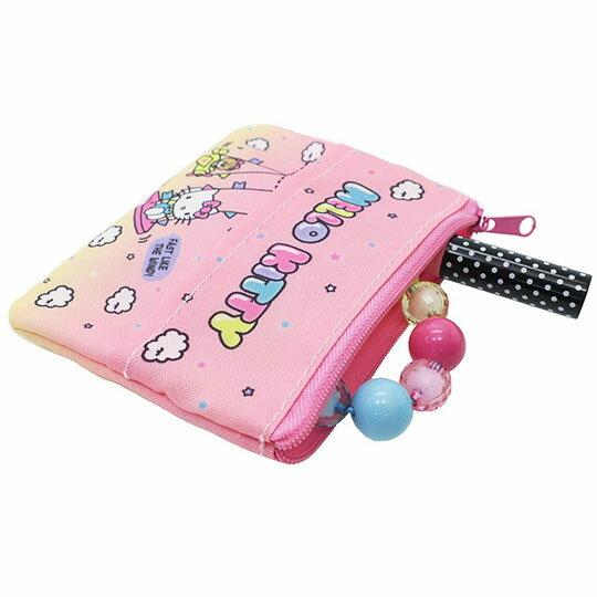 〔小禮堂〕Hello Kitty 方形尼龍面紙零錢包《粉黃.彩虹》收納包.化妝包.面紙包 2