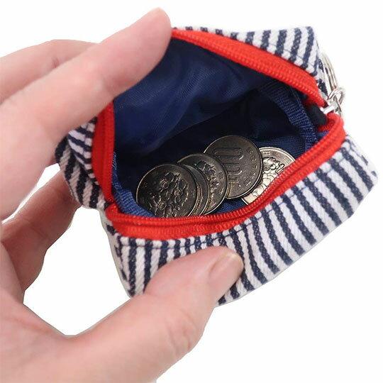 〔小禮堂〕史努比 帆布拉鍊零錢包《深藍白.直條》收納包.掛飾 1