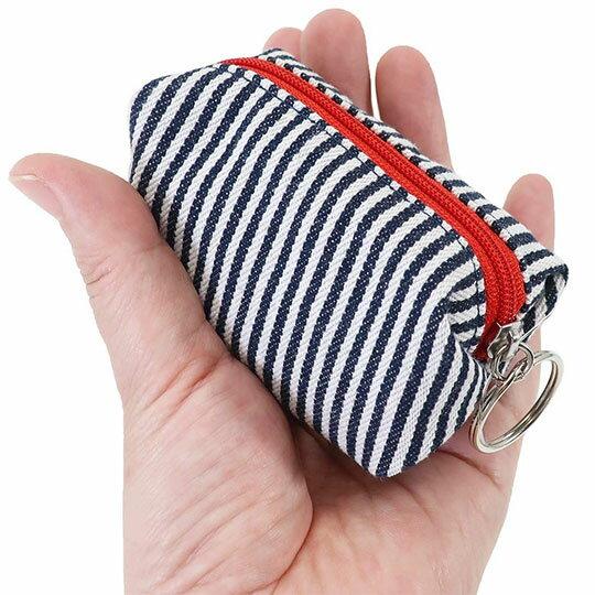 〔小禮堂〕史努比 帆布拉鍊零錢包《深藍白.直條》收納包.掛飾 2