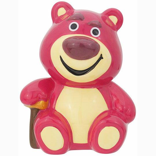 〔小禮堂〕迪士尼 玩具總動員 熊抱哥 陶瓷存錢筒《桃.坐姿》擺飾.撲滿.儲金筒