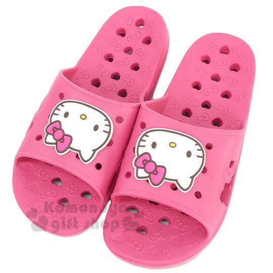 〔小禮堂〕Hello Kitty 成人矽膠簍空浴室拖鞋《粉白.愛心》陽台拖.室內拖