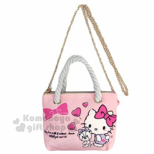 〔小禮堂〕Hello Kitty 尼龍麻繩斜背觸控手機包《粉.紫洋裝》手提包.化妝包.斜背包