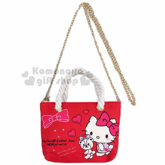 〔小禮堂〕Hello Kitty 尼龍麻繩斜背觸控手機包《紅.紫洋裝》手提包.化妝包.斜背包