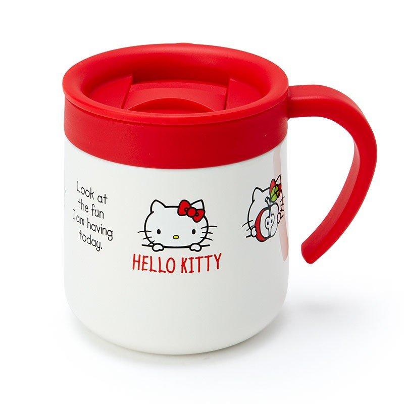 〔小禮堂〕Hello Kitty 單耳不鏽鋼附蓋保溫杯《紅白》300ml.保冷杯.茶杯 0