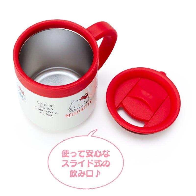 〔小禮堂〕Hello Kitty 單耳不鏽鋼附蓋保溫杯《紅白》300ml.保冷杯.茶杯 3