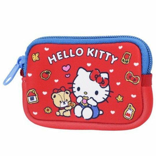 〔小禮堂〕Hello Kitty 方形潛水布拉鍊零錢包《紅藍.吃餅乾》收納包.耳機包