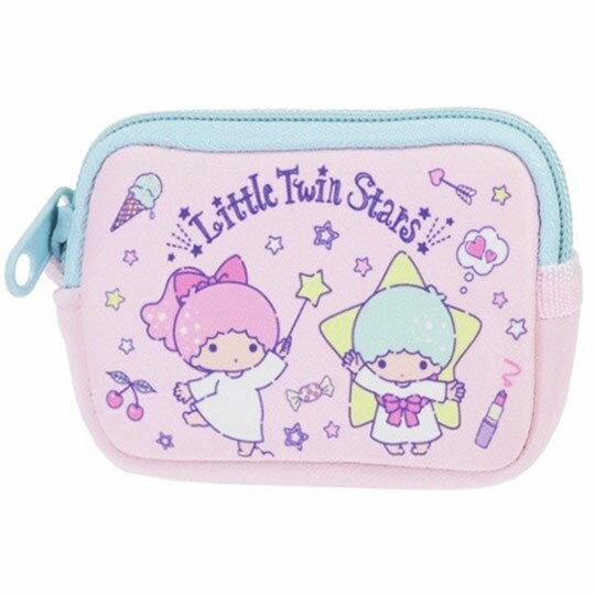 〔小禮堂〕雙子星 方形潛水布拉鍊零錢包《粉.星星手杖》收納包.耳機包