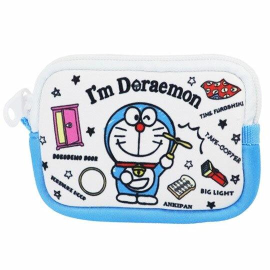 〔小禮堂〕哆啦A夢 方形潛水布拉鍊零錢包《藍白.拿竹蜻蜓》收納包.耳機包