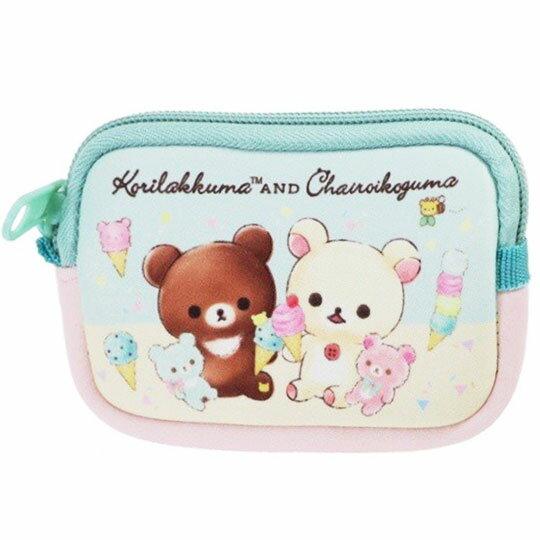 〔小禮堂〕懶懶熊 拉拉熊 方形潛水布拉鍊零錢包《粉綠.冰淇淋》收納包.耳機包