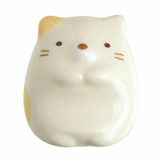 〔小禮堂〕角落生物 貓咪 全身 陶瓷筷架《米黃》筆架.紙鎮